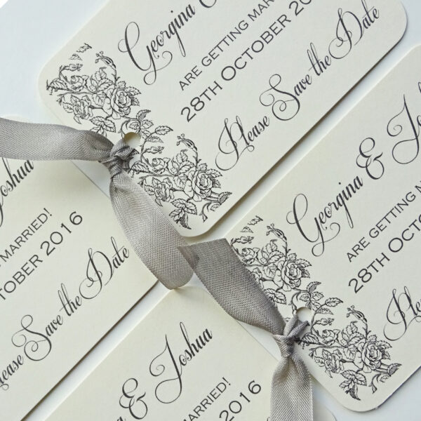 grey-rose-wedding-save-the-date-tags-traditional-wedding-stationery-stationary-ivory-grey-ribbon-personalised-classic-claryce-design