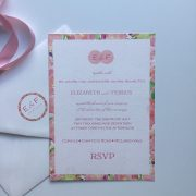 Pink floral watercolour border wedding invitation