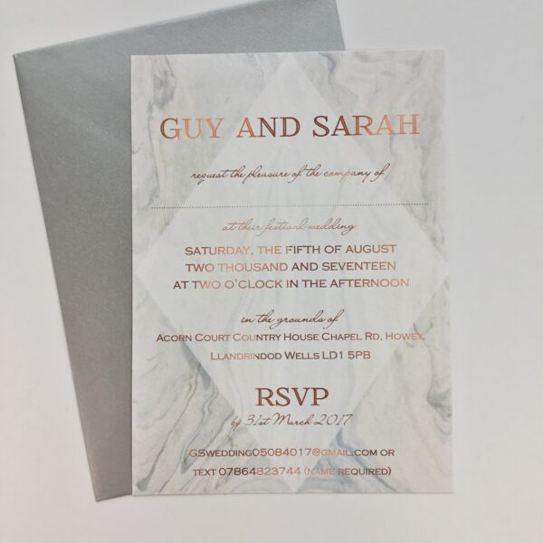 Grey marble and copper wedding invitation