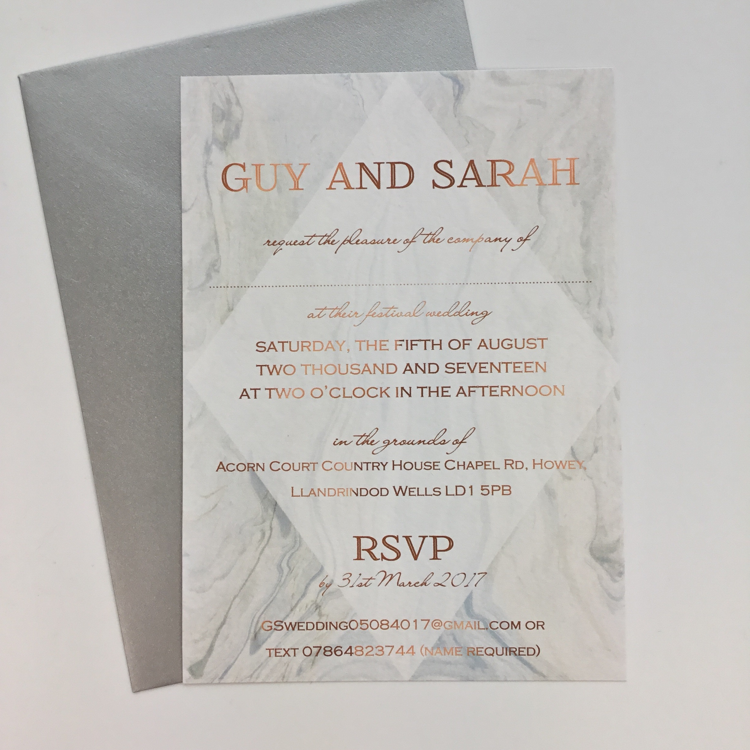 Grey Marble And Copper Wedding Invitation Claryce Design