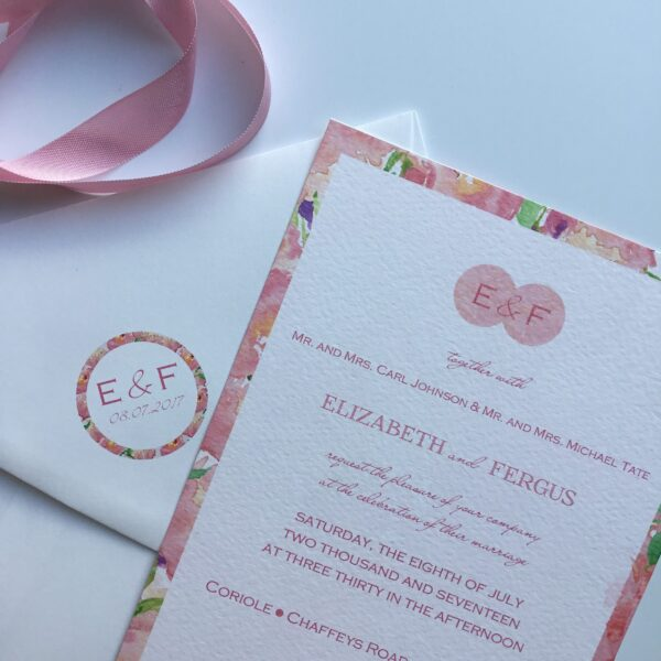 Pink floral watercolour border wedding invitation.
