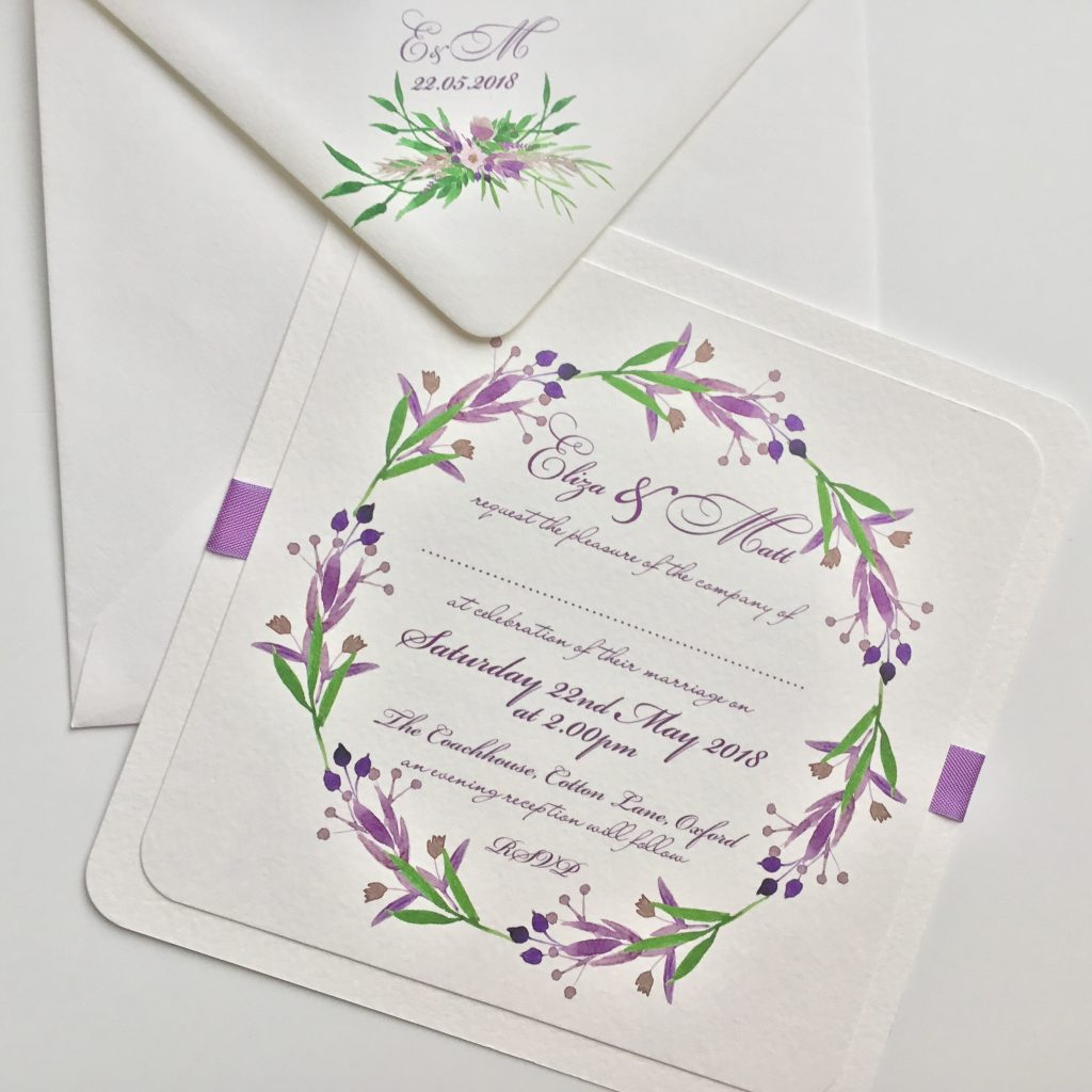 Lavender and Green Wedding Invitations