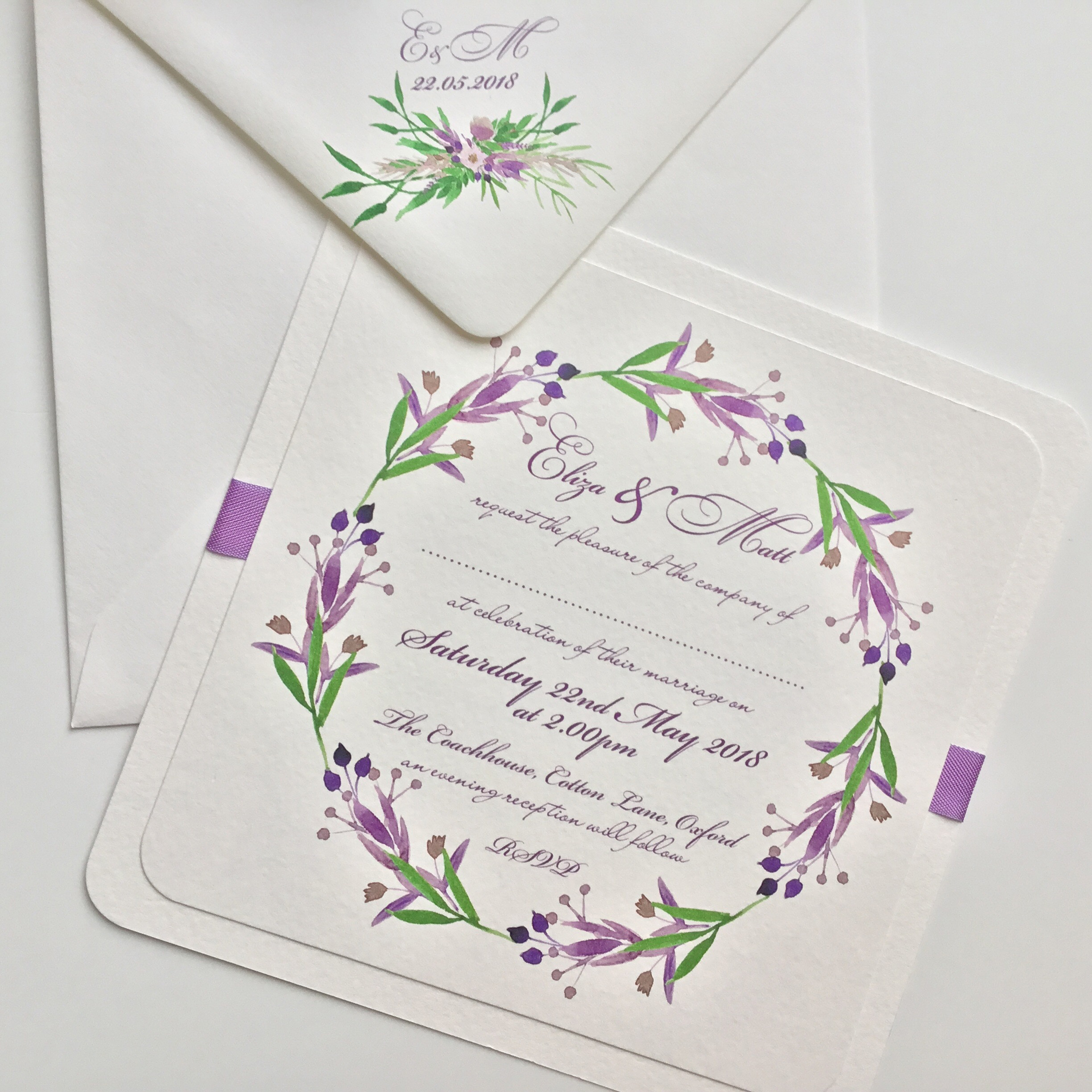 Lavender and Green Floral Bouquet Wedding Invitation – Claryce Design