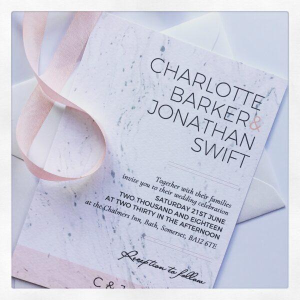 Modern Blush pink and grey marble wedding invitation