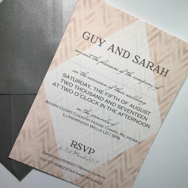 Chevron invitation in blush and grey