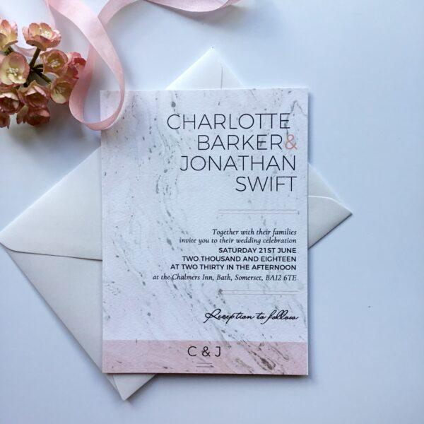 Modern blush and grey wedding invitation