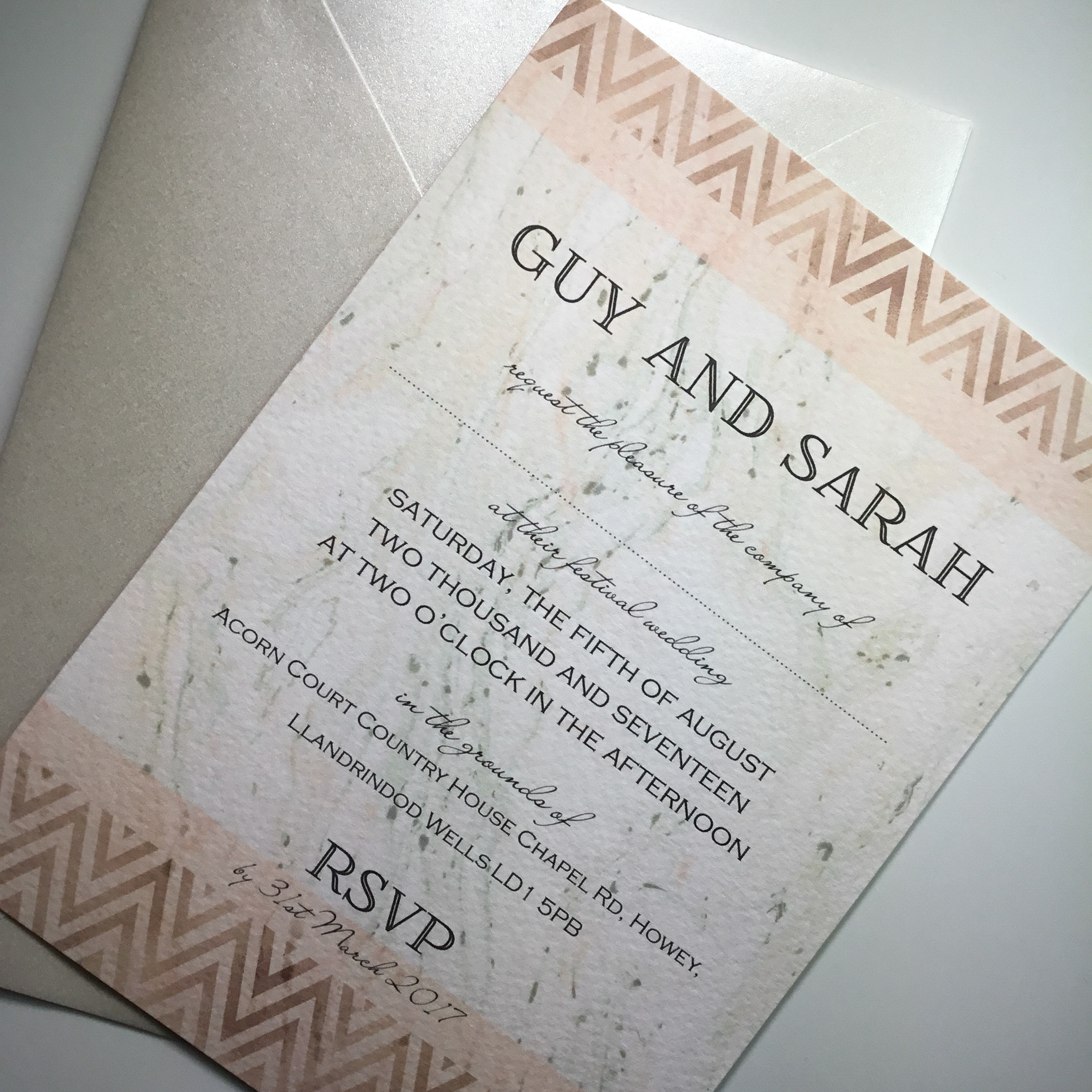 Chevron border wedding invitation