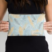 aqua-and-yellow-personalised-make-up-bag-with-leaves-and-feathers-hand-drawn-watercolour